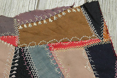 Antique Crazy Quilt Top Piece Patchwork Colorful Intricate Stitching
