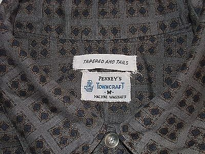 "Vintage 1950's ""TOWNCRAFT"" GRAY BLOCK PRINT COTTON S/S SHIRT-GUSSETS-MED"