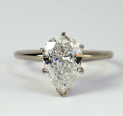 Diamond engagement ring solitaire 14K white gold pear brilliant 1.67CT brand new