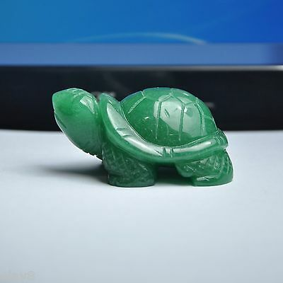 "New Fashion ""OL8"" Aventurine Quartz Green Jade Bless Tortoise Statue 37x21x26mm"