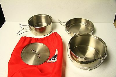 Peak 1 Camping Cookware set with bag.  Stainless Steel