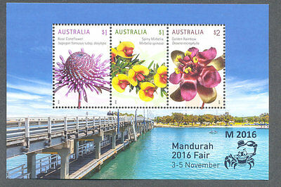 Australia-Mandurah Stamp Fair 2016 mnh min sheet-Flowers