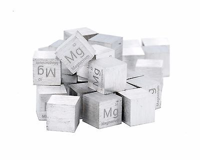 Magnesium Metal 10mm Density Cube 99.95% Pure for Element Collection