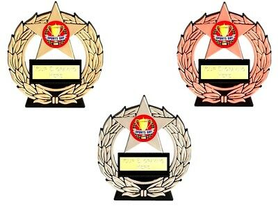 School Sports Day economy mega star trophy free engraving trophies