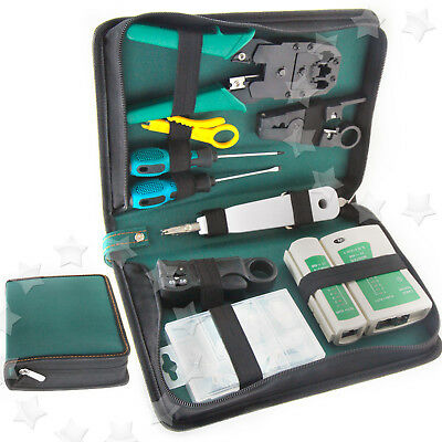 9pcs Multi Purpose Lan Tool Set RJ45+RJ11 Network Cable Tester Screwdriver AU