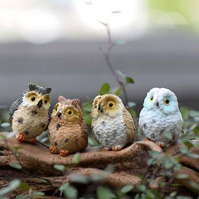 4Pcs Cute Resin Bird Owl Garden Home Decor Figurine Model Statues Ornament