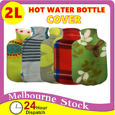 1.7 - 2L Hot Water Bottle Cover only Warmer Heat Soft Bag Large Grey knitted