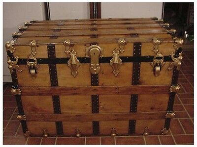 Ladycomet Victorian Refinished Flat Top Steamer Trunk Antique Chest w/ Tray