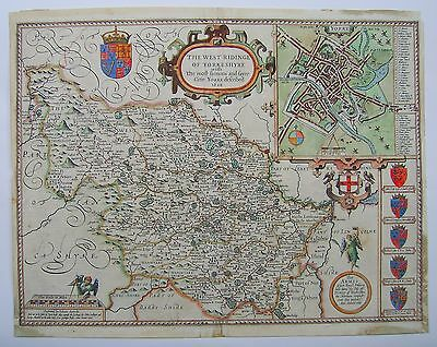 Yorkshire West Riding: antique map by John Speed, 1611 (1st edition)