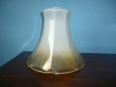 Vintage Art Deco Milky Golden Yellow Eight Sided Glass Ceiling Lamp Shade