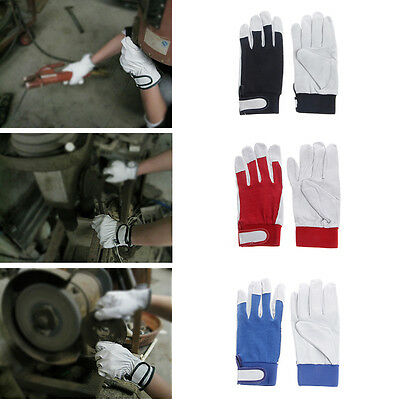 1Pair Leather Work Gloves Driving Working Safety Protective Gloves