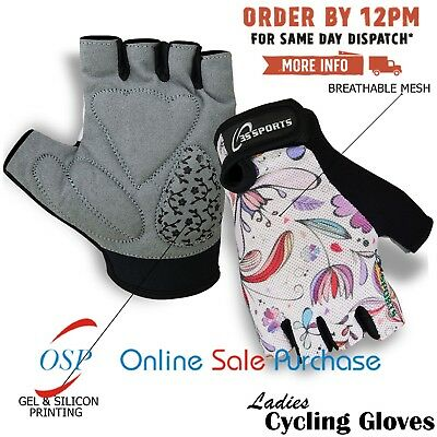 Ladies Cycling Gloves Cycle Half Finger Bicycle Gel Padded Fingerless NEW FLOWER