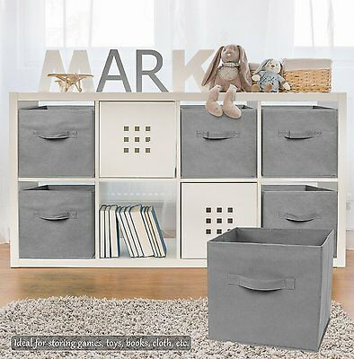 2PK Folding Fabric Storage Bin Collapsible Box Girl Kids Toy Organizer Cube Gray