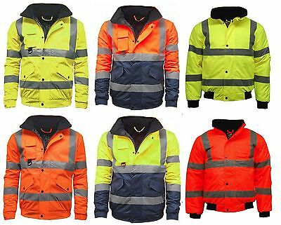 Contractor Hi Viz High Vis Visibility Bomber Work Jacket Yellow | Orange (D | H)