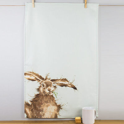 New Pimpernel Wrendale Designs Hare Pale Green Cotton Tea Towel Animals Wildlife