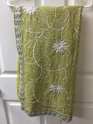 Saree Sari Indian india Olive green with matching blouse Party Wear NEW