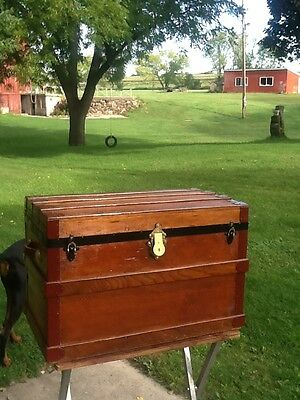 BlackDog Antique Steamer Trunk Flat Top Victorian Chest Stagecoach Wooden