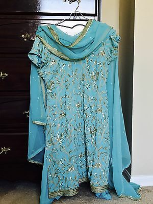 Indian Bollywood Patiala Salwar Kameez Suit Blue And Gold Fully Stitched