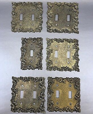 Lot Of 6 Vintage Amerock Decorative Metal Switch Receptacle Plate Covers Brass