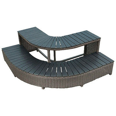 Corner Wicker Step for Hot Tubs - Acrylic Spa Surround Furniture - 1 of 8 pieces