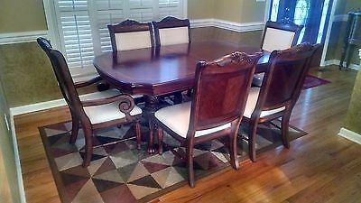 Dining Room Table Set Burl Mahogany Finish Dining Room Table + 6 Chairs Table