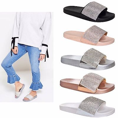 Womens Ladies Slip On Sparkly Diamante Bling Sliders Black Silver Summer Sandals