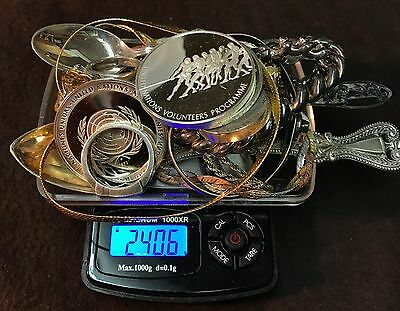 240 Grams Sterling Silver Scrap Jewelry ~ Wearable & Broken & Coins 154.3 dwt