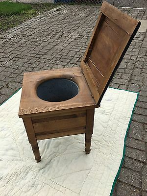 Antique English wooden chamber pot chair/box