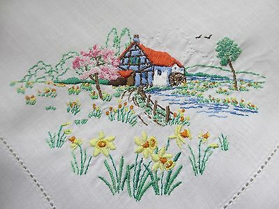 Beautiful Vintage Cotton Embroidered Tablecloth (Mill house & Daffodil design)