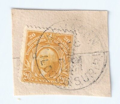 Used 20c Philippine Stamp on Paper with a 1911 Post Mark.