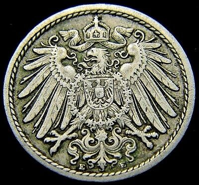 Germany 1908 - E 5 Pfennig German Empire Coin (Rl#1643)  109 Years Old