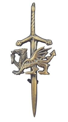 "Celtic Sword Kilt Pin Welsh Dragon Antique Finish 4""/Welsh Dragon Kilt Pins/pins"