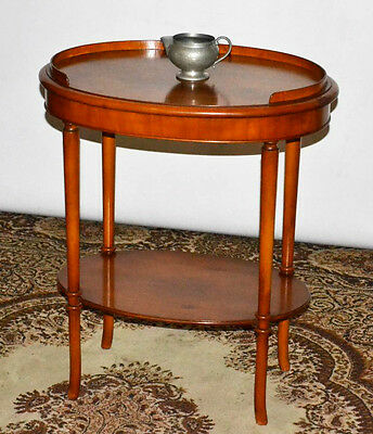 Vintage Yew Oval Occasional Table with Under Tier - FREE Shipping [PL3484]