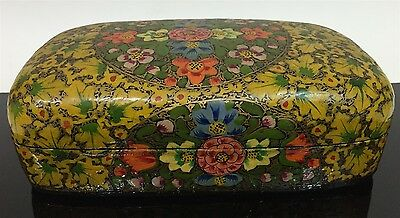 Vtg Middle East Ornate Flower Hand Painted Black Lacquer Ware Storage Box