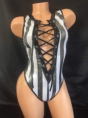 Exotic Dancer Stripper UV Glow Sparkle Lace Up Referee Thong Romper Dancewear
