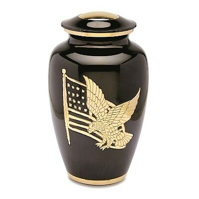 AMP in Black and Gold Adult Cremation Urn