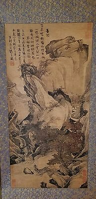 CG103 Fine Large Chinese Hand Painted Scroll- Mountains Signed and Sealed