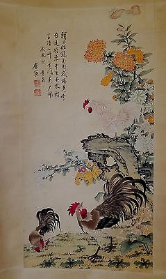 CG104 Large Chinese Hand Painted Scroll- Roasters Signed and Sealed