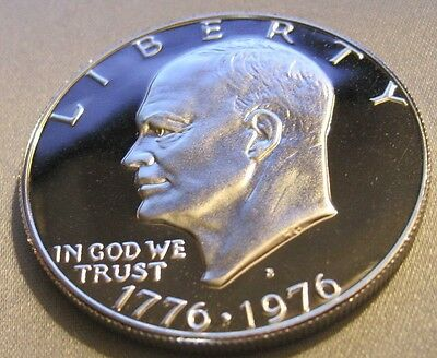 1976 S CAMEO PROOF EISENHOWER 40% SILVER DOLLAR//From Bicentennial Set // MC 710