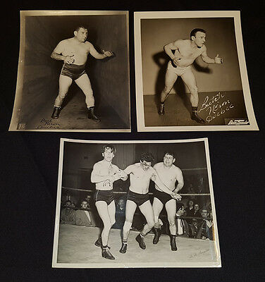 1950's - WRESTLERS - BUTCH and PAUL NERON - QUEBEC - PHOTOS (3) - ORIGINAL