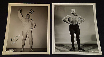 1950's - WRESTLERS - KARL VON STROHEIM & 1 OTHER - QUEBEC - PHOTOS(2) - ORIGINAL