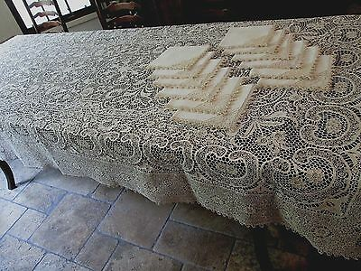 "VTG RETICELLA POINT DE VENISE NEEDLELACE BANQUET TABLECLOTH 12 NAPKINS.70""x124"