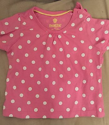 Baby Girls Pink and white polka dot t shirt 12-24 Months