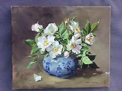 Original Anne Cotterill 'Wild Roses' Oil Painting On Canvas