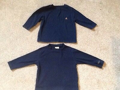 Two Navy Long Sleeve Tops Age 12-18 Months, One Baby Gap, One Cherokee