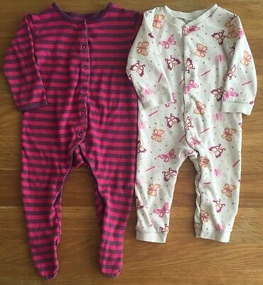 Girls Sleepsuits X2 Age 9-12 Months Mini Mode And H&M