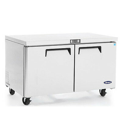 """New 48"""" 2 Door Undercounter Worktop Freezer With Casters Free Shipping In 24Hrs"""