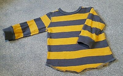 next baby boy grey and mustard yellow striped rugby long sleeve top 9-12 months