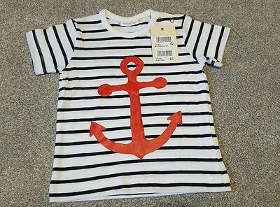 Next Baby Boy nautical t shirt anchor up to 3 months bnwt