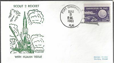 3/3/61 Scout 2 Rocket Launch with Human Tissue Goldcraft Cachet